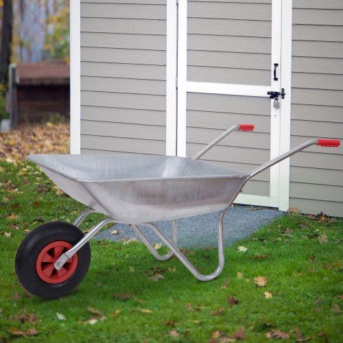 Outsunny 80kg Galvanised Steel Wheelbarrow Cart - Silver