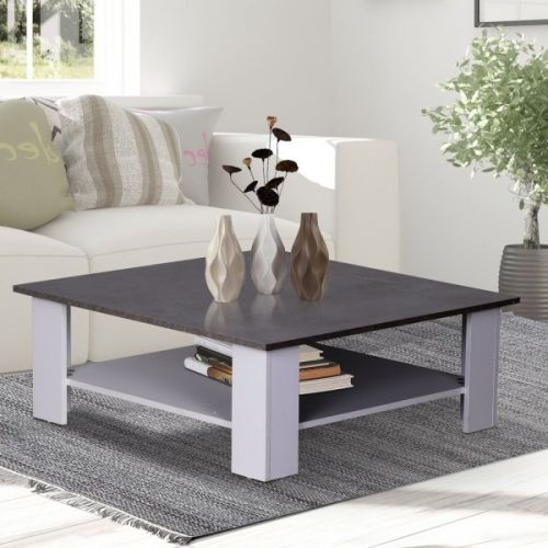 Homcom 2-Tier Square Coffee Table - White & Grey