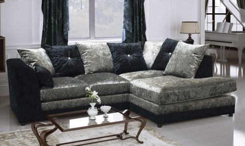 Serene Dual-Toned Crushed Velvet Corner Sofa Suite