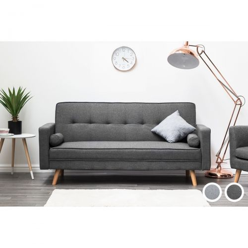 Boston Fabric 3-Seat Sofa Bed - Light Grey or Charcoal
