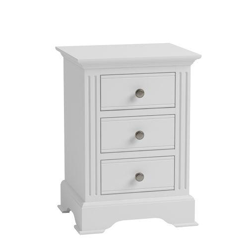 Modern 3 Drawers Large Bedside Cabinet - White