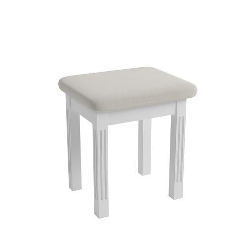 Modern Wooden Upholstered Stool - White