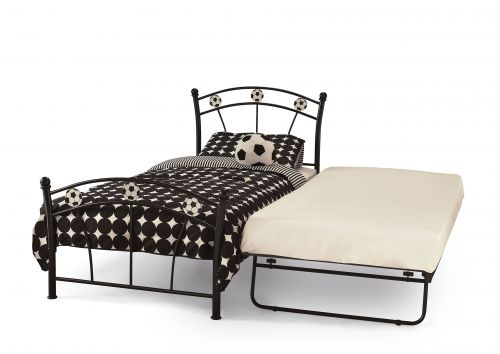 Boy's Soccer Metal Bed & Guest Bed - White or Black