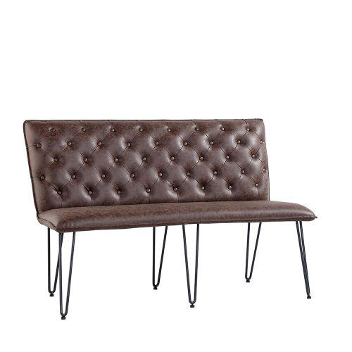 Modern Studded Back Medium Bench - Brown