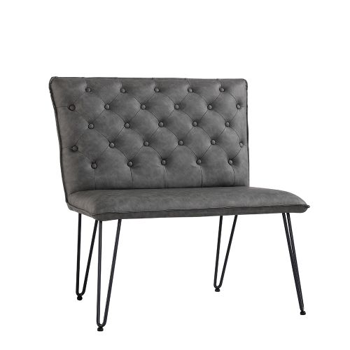 Modern Small Studded Back Bench - Grey