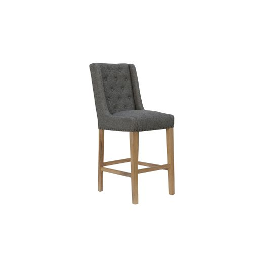 Button Back Stool with Studs - Dark Grey
