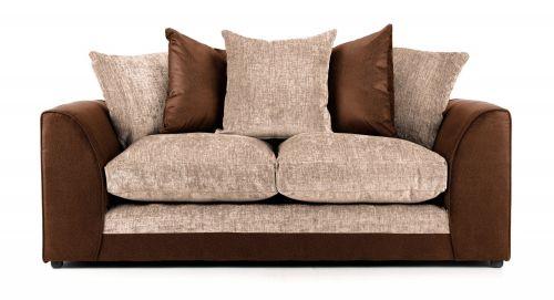 Aruba Brown and Beige Fabric 3 Seater Sofa