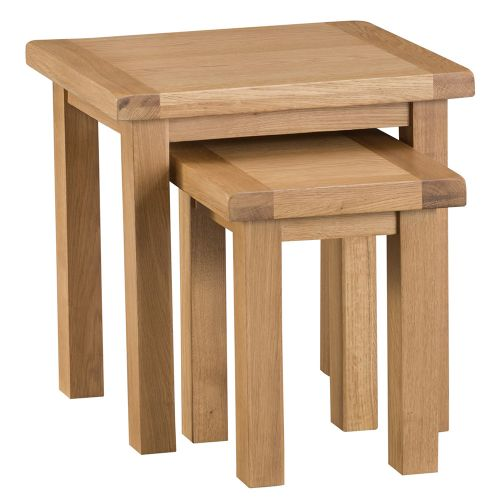 Classic Nest Of 2 Tables - Medium Oak Finish