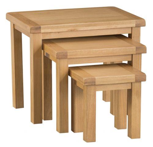 Classic Nest Of 3 Tables - Medium Oak Finish