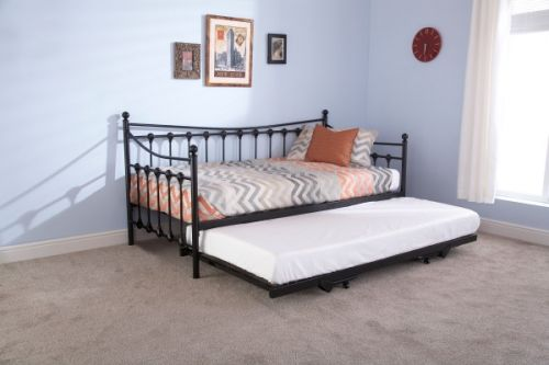 Memphis Metal Day Bed & Trundle with Mattress - Black or Ivory