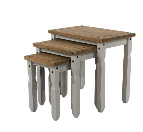 Corona 3PC Waxed Pine Nest of Tables - Pine or Grey