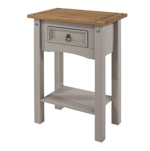 Corona 1-Drawer Shelf Hall Table - Pine or Grey