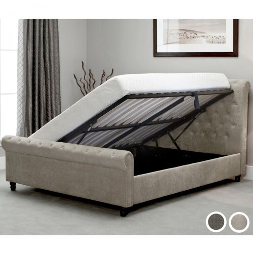 Oxford Fabric Sleigh Ottoman Bed - Grey or Stone