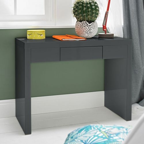 LPD Puro 1 Drawer High Gloss Dressing Table - Charcoal