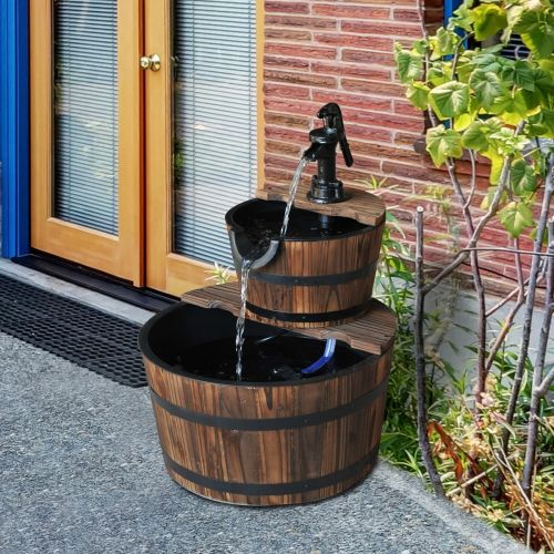 Outsunny 2 Tier-Fir Wooden Water Pump Fountain