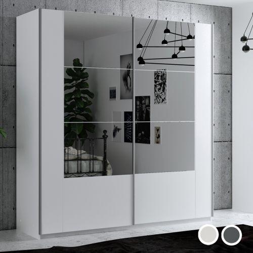 Diego 200cm Sliding Door Wardrobe - White and Grey