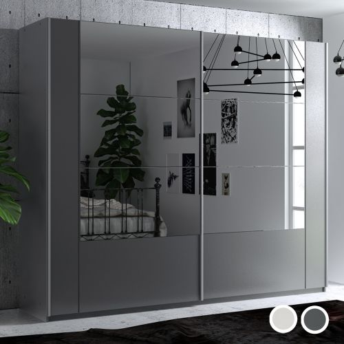 Diego 250cm Sliding Door Wardrobe - White and Grey