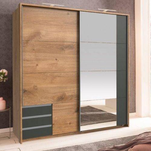 Enber Mirrored Sliding Wardrobe - Planked Oak and Graphite