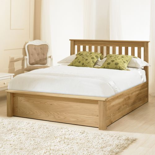 Monaco Oak Wood Ottoman Bed - 3 Sizes