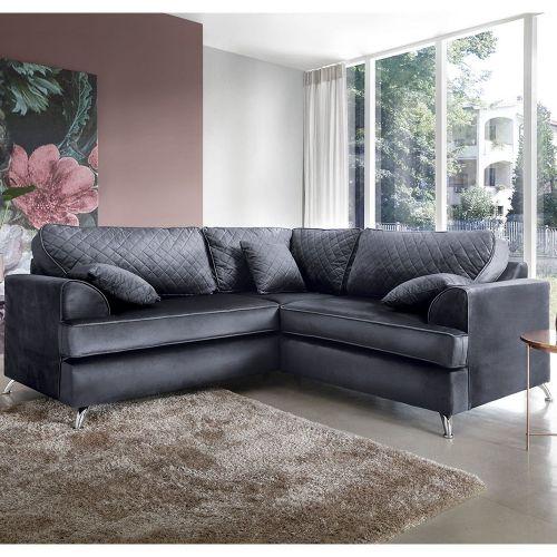 Fergasson Velvet Corner Sofa - Dark Grey, Light Grey, Oxford Blue