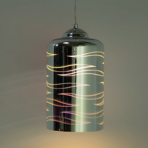Orba Geometric Glass Pendant Lamp - Silver