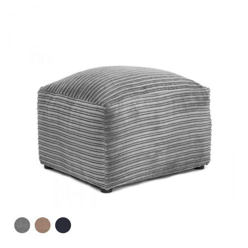 Porto Jumbo Cord Footstool - Grey