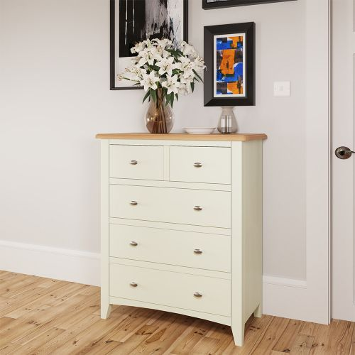 Luxury 2 Over 3 Chest of Drawers - White