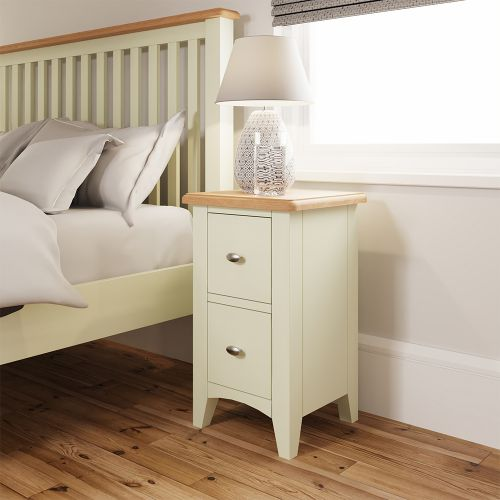 Luxury 2 Drawer Bedside Cabinet - White