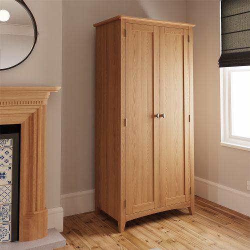 Comodo 2 Door Full Hanging Wardrobe - Light Oak