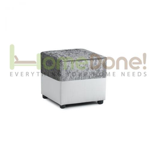 Geno Velvet Footstool - White/Silver
