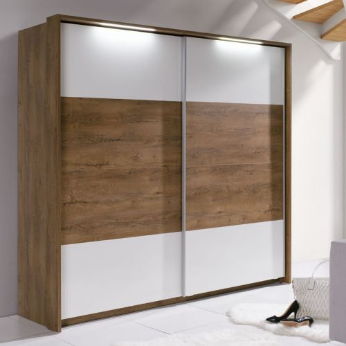 Gwen Sliding Door Wardrobe - Burgundy Oak and White or Grey