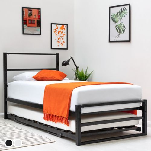 Hartfield Single Metal Bed Frame with Guest Bed Trundle - 2 Colours
