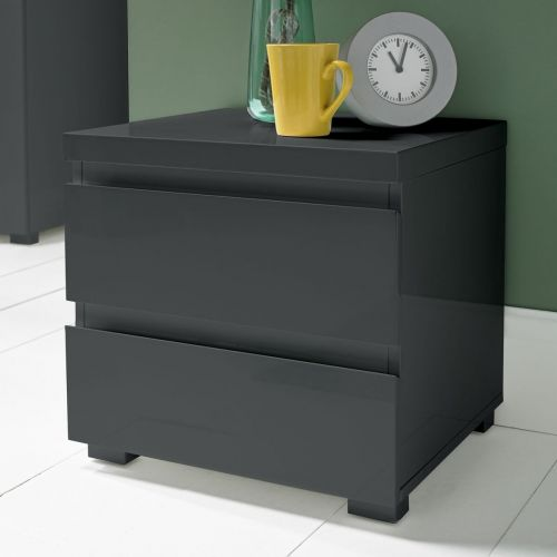 LPD Puro 2 Drawer High Gloss Bedside Table - Charcoal