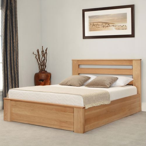Charnwood Oak Wood Ottoman Bed - 3 Sizes