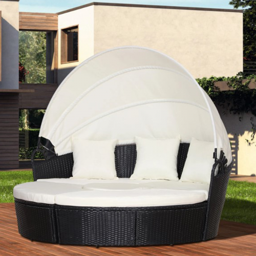 Outsunny 5PC Rattan Garden Round Sofa Daybed -  2 Colours