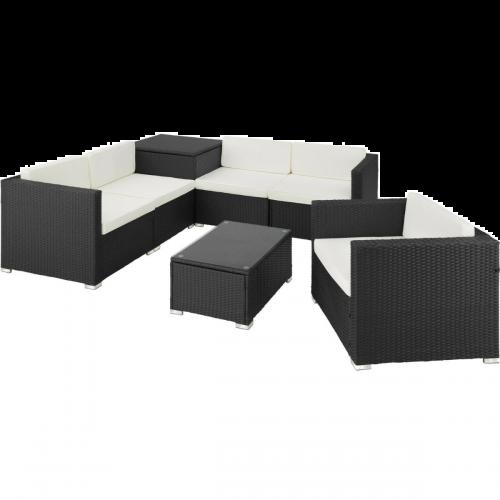 Elegant Garden Rattan Lounge Sofa Set WIth Cushions and Storage Box - Black Colour