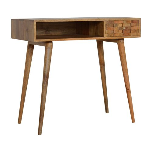 Tile Carved Writing Desk with Open Slot