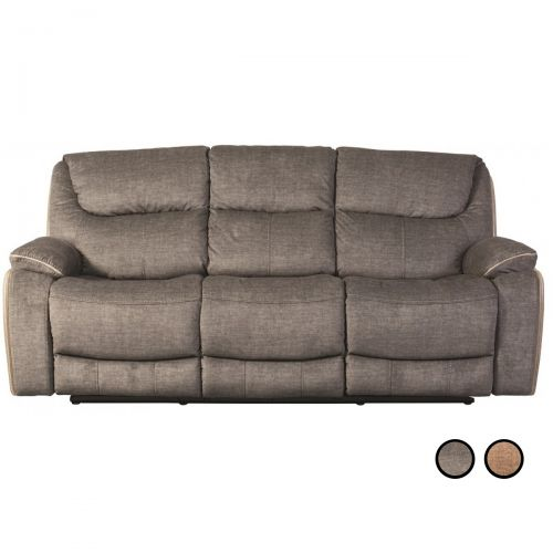 Sweet Dreams Langley Recliner Fabric 3-Seat Sofa - Fawn or Smoky