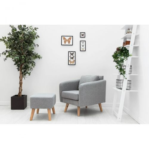 Longdon Modern Fabric Armchair & Footstool - Light Grey or Charcoal