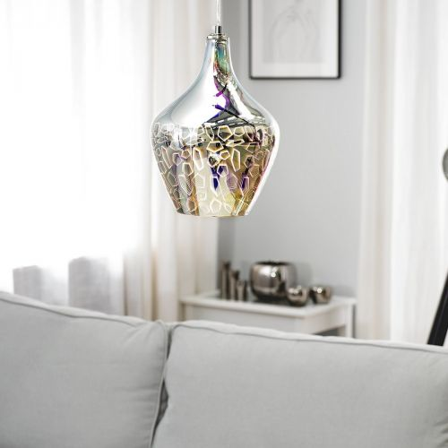 Soana Geometric Glass Pendant Lamp - Silver