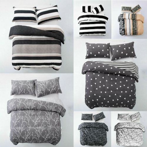 Duvet Quilt Cover 3 Piece Bedding With Pillowcase - 4 Sizes