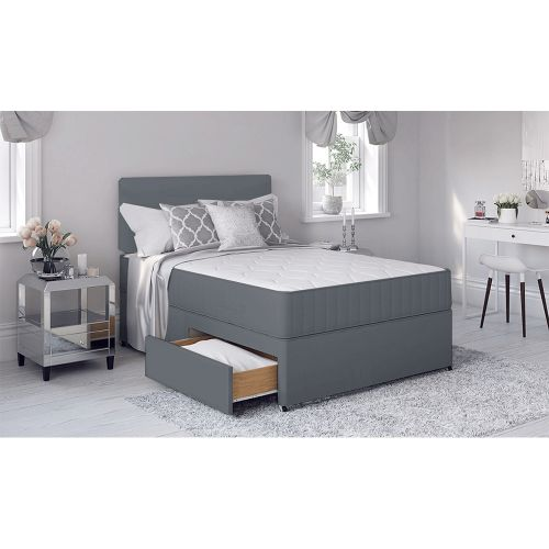 Divan Bed Frame with Memory Foam Mattress - Grey
