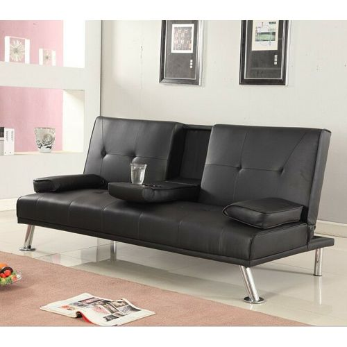 Luxury Italian Style Faux Leather Sofa Bed with Cup Holder - 4 Colours