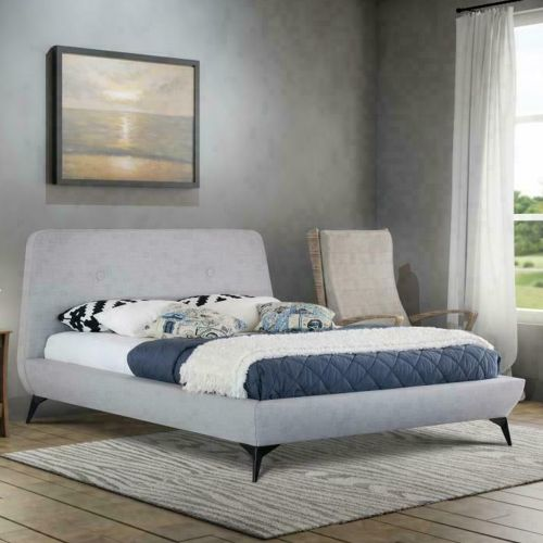 Modern Fabric Bed Frame with USB Charge Point - 2 Colours