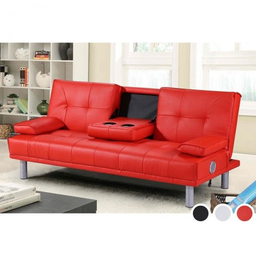 Manhattan Bluetooth Faux Leather Sofa Bed - White, Black or Red