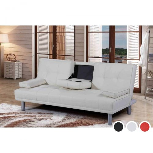 Manhattan Faux Leather Sofa Bed - White, Black or Red