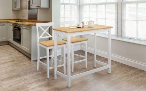 Julian Bowen Marlow Bar Dining Set & 2 Stools - White / Oak