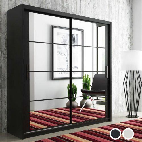 Deltum Sliding Door Wardrobe - Black, White