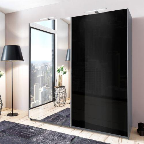 Mapple Aluminum Mirrored Sliding Wardrobe - Black