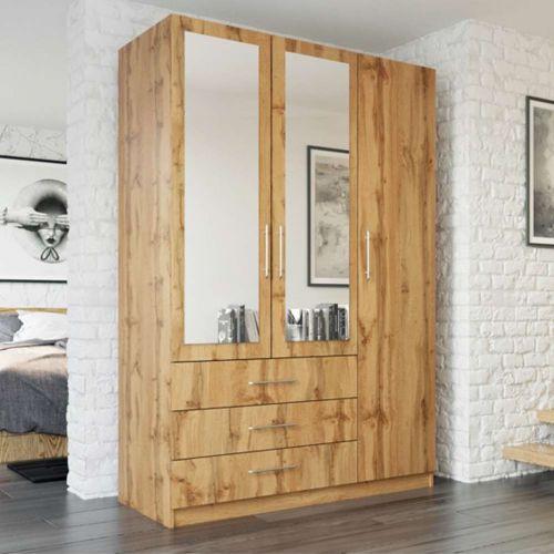 Peking 3 Door Wardrobe with Mirror and Drawers - Oak Wotan